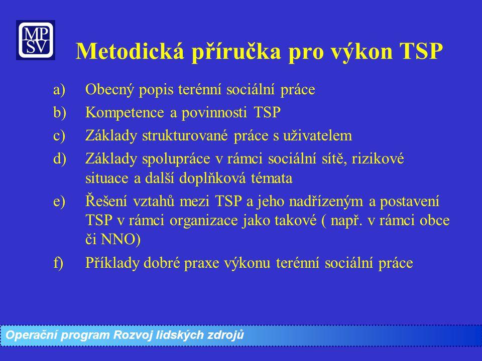 Metodická příručka pro výkon TSP a)Obecný popis terénní sociální práce b)Kompetence a povinnosti TSP c)Základy strukturované práce s uživatelem d)Zákl