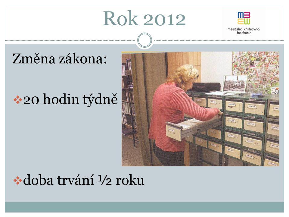 Změna zákona:  20 hodin týdně  doba trvání ½ roku Rok 2012