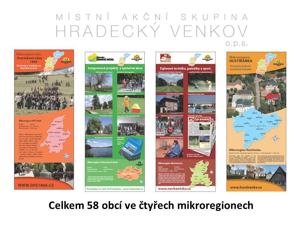 Celkem 58 obcí ve čtyřech mikroregionech