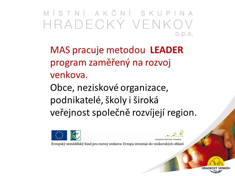 MAS pracuje metodou LEADER program zaměřený na rozvoj venkova.