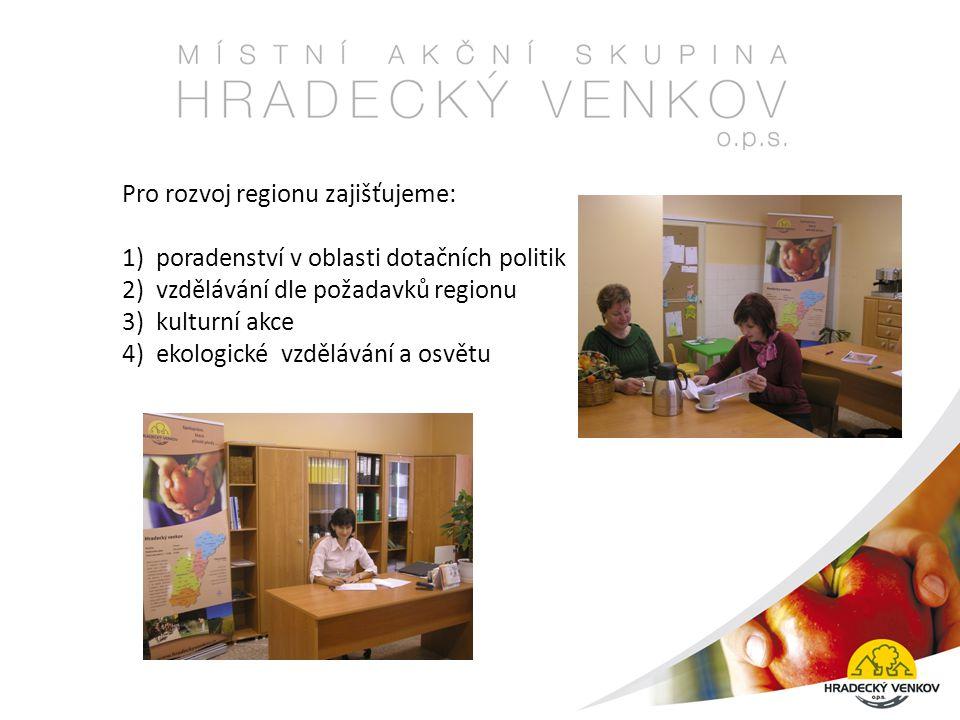 Pro rozvoj regionu zajišťujeme: 1) poradenství v oblasti dotačních politik 2) vzdělávání dle požadavků regionu 3) kulturní akce 4) ekologické vzdělávání a osvětu