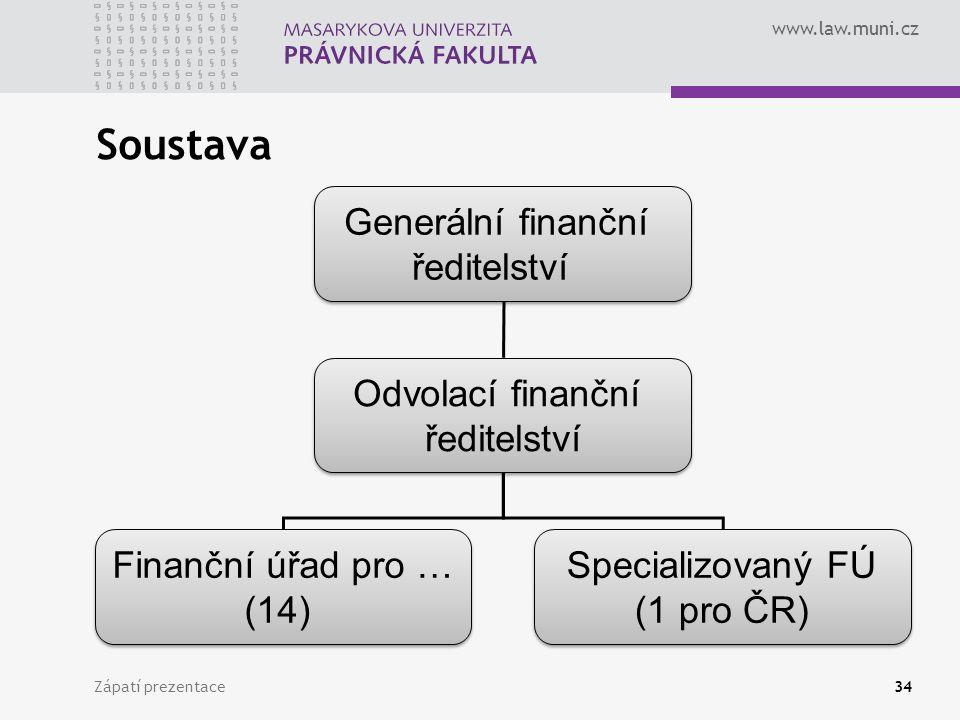 www.law.muni.cz Soustava Zápatí prezentace34 Generální finanční ředitelství Generální finanční ředitelství Odvolací finanční ředitelství Odvolací finanční ředitelství Finanční úřad pro … (14) Finanční úřad pro … (14) Specializovaný FÚ (1 pro ČR) Specializovaný FÚ (1 pro ČR)