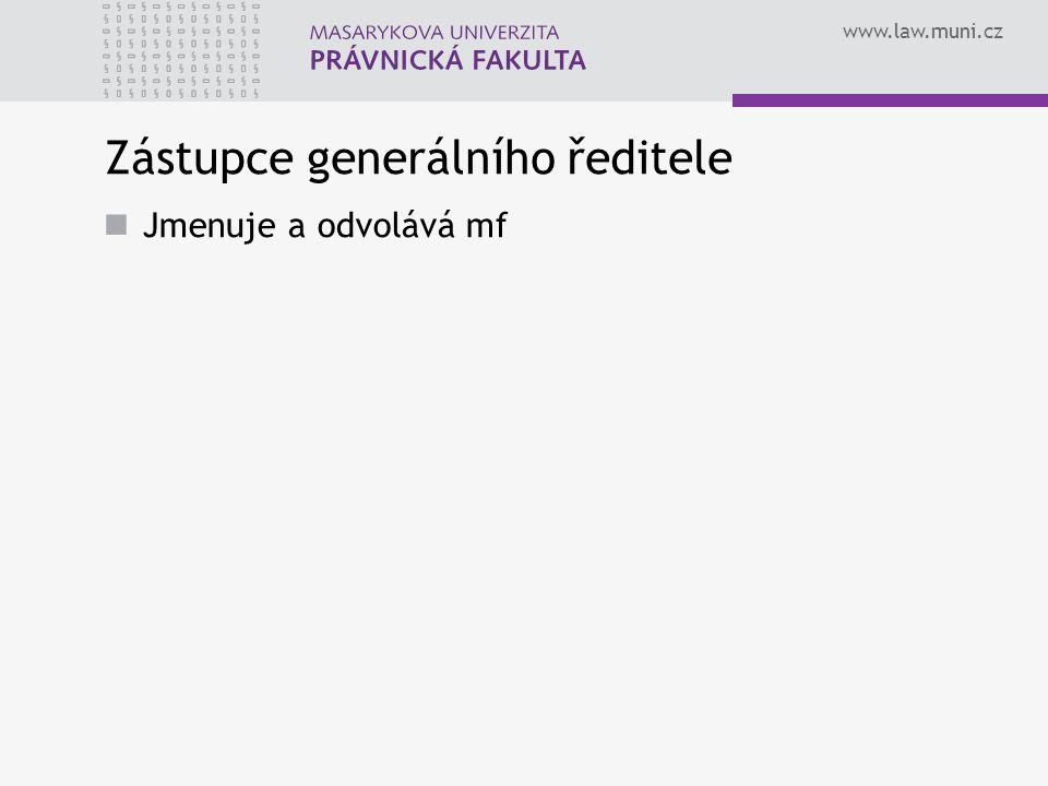 www.law.muni.cz Zástupce generálního ředitele Jmenuje a odvolává mf