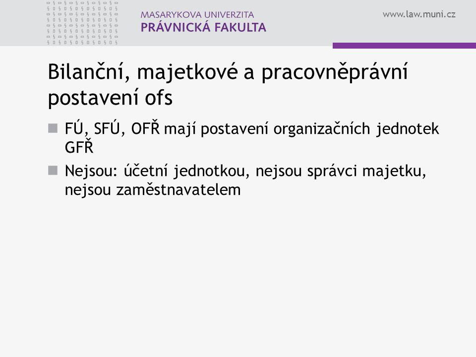 www.law.muni.cz Bilanční, majetkové a pracovněprávní postavení ofs FÚ, SFÚ, OFŘ mají postavení organizačních jednotek GFŘ Nejsou: účetní jednotkou, nejsou správci majetku, nejsou zaměstnavatelem