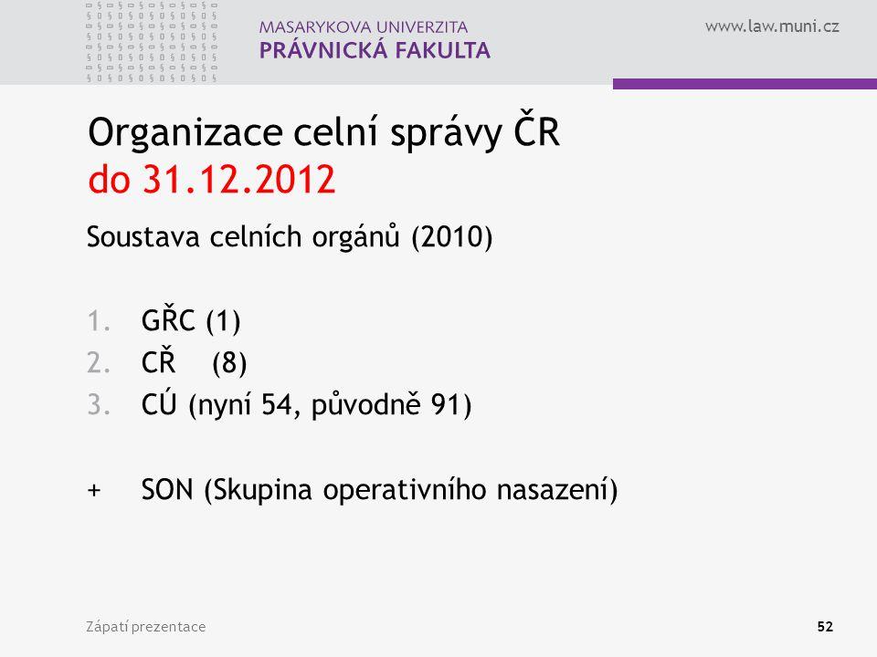 www.law.muni.cz Organizace celní správy ČR do 31.12.2012 Soustava celních orgánů (2010) 1.GŘC (1) 2.CŘ (8) 3.CÚ (nyní 54, původně 91) +SON (Skupina operativního nasazení) Zápatí prezentace52
