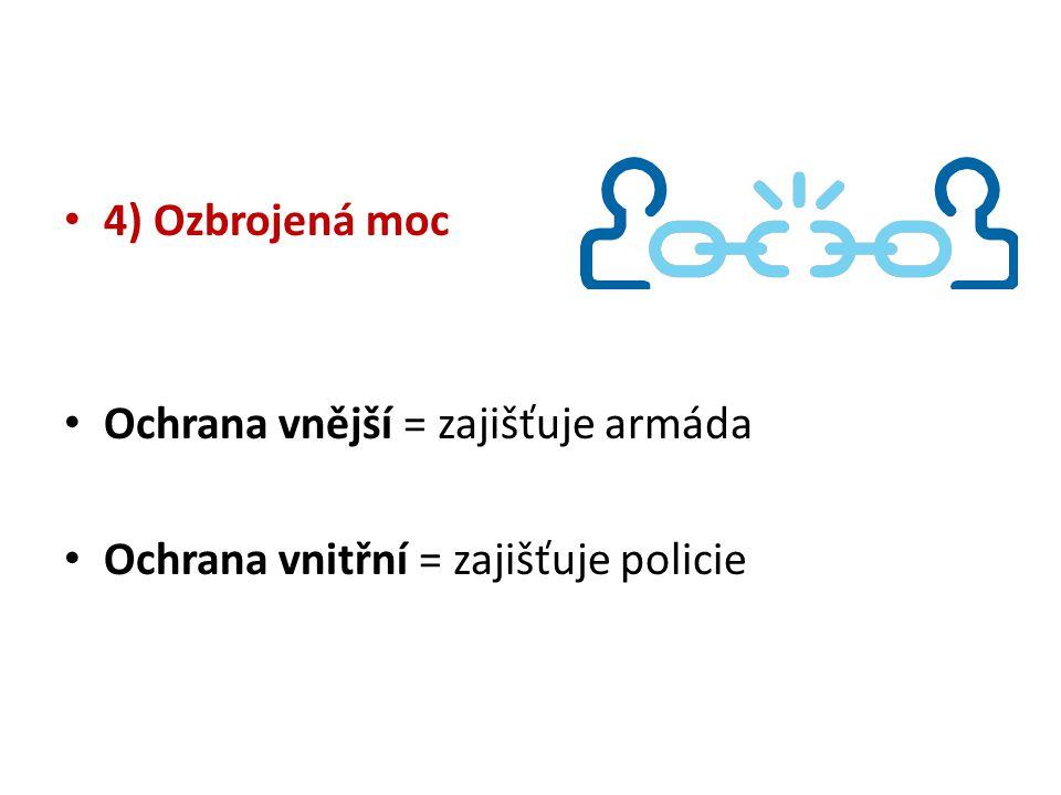 4) Ozbrojená moc Ochrana vnější = zajišťuje armáda Ochrana vnitřní = zajišťuje policie