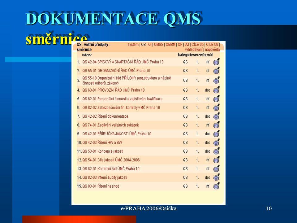 e-PRAHA 2006/Osička10 DOKUMENTACE QMS směrnice