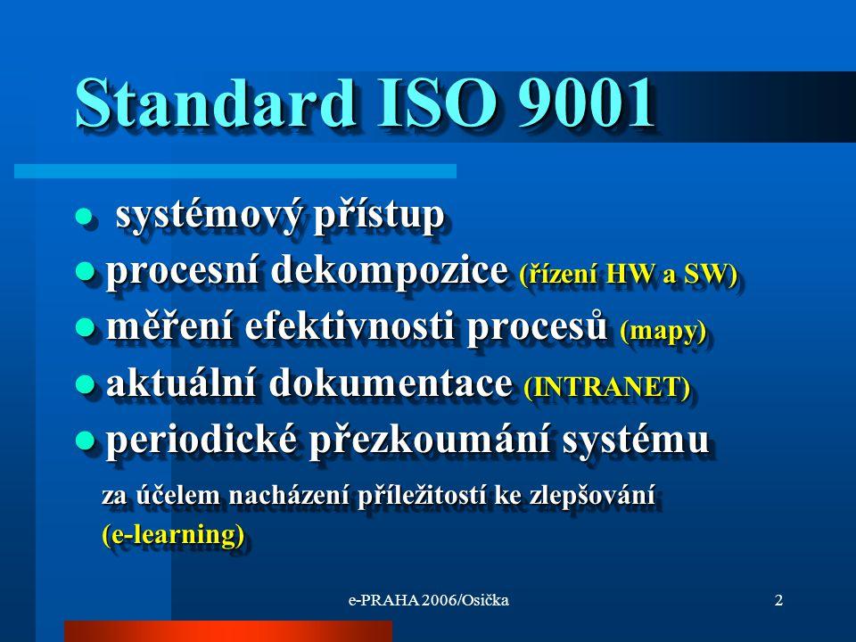 e-PRAHA 2006/Osička2 Standard ISO 9001 systémový přístup procesní dekompozice (řízení HW a SW) procesní dekompozice (řízení HW a SW) měření efektivnosti procesů (mapy) měření efektivnosti procesů (mapy) aktuální dokumentace (INTRANET) aktuální dokumentace (INTRANET) periodické přezkoumání systému periodické přezkoumání systému za účelem nacházení příležitostí ke zlepšování za účelem nacházení příležitostí ke zlepšování (e-learning) (e-learning) systémový přístup procesní dekompozice (řízení HW a SW) procesní dekompozice (řízení HW a SW) měření efektivnosti procesů (mapy) měření efektivnosti procesů (mapy) aktuální dokumentace (INTRANET) aktuální dokumentace (INTRANET) periodické přezkoumání systému periodické přezkoumání systému za účelem nacházení příležitostí ke zlepšování za účelem nacházení příležitostí ke zlepšování (e-learning) (e-learning)