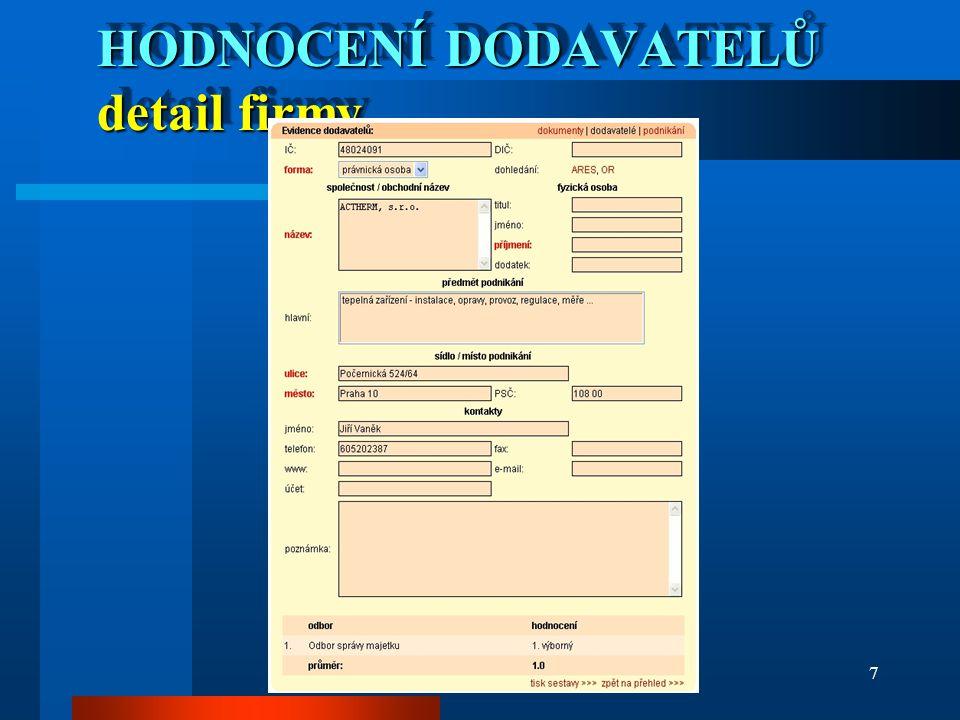 e-PRAHA 2006/Osička7 HODNOCENÍ DODAVATELŮ detail firmy