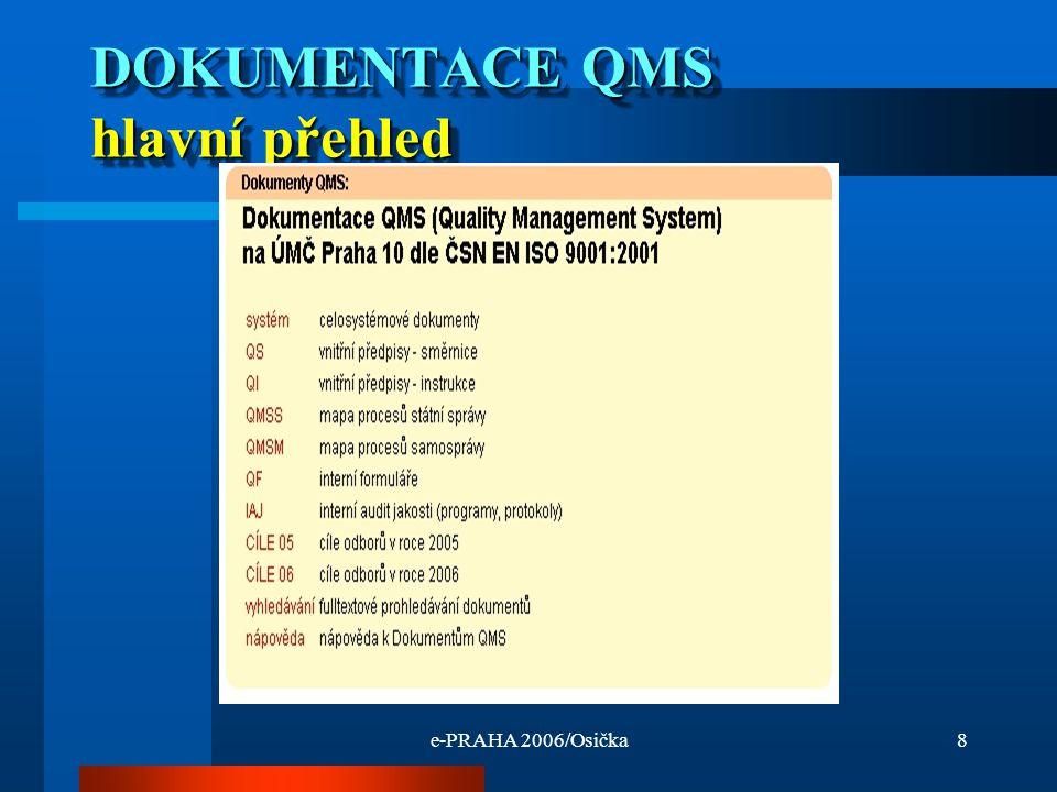 e-PRAHA 2006/Osička8 DOKUMENTACE QMS hlavní přehled