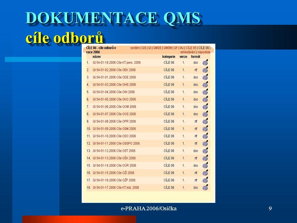 e-PRAHA 2006/Osička9 DOKUMENTACE QMS cíle odborů