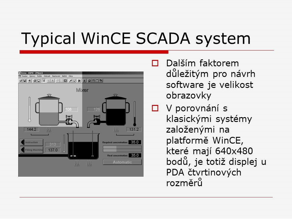 Typical WinCE SCADA system  Dalším faktorem důležitým pro návrh software je velikost obrazovky  V porovnání s klasickými systémy založenými na platformě WinCE, které mají 640x480 bodů, je totiž displej u PDA čtvrtinových rozměrů