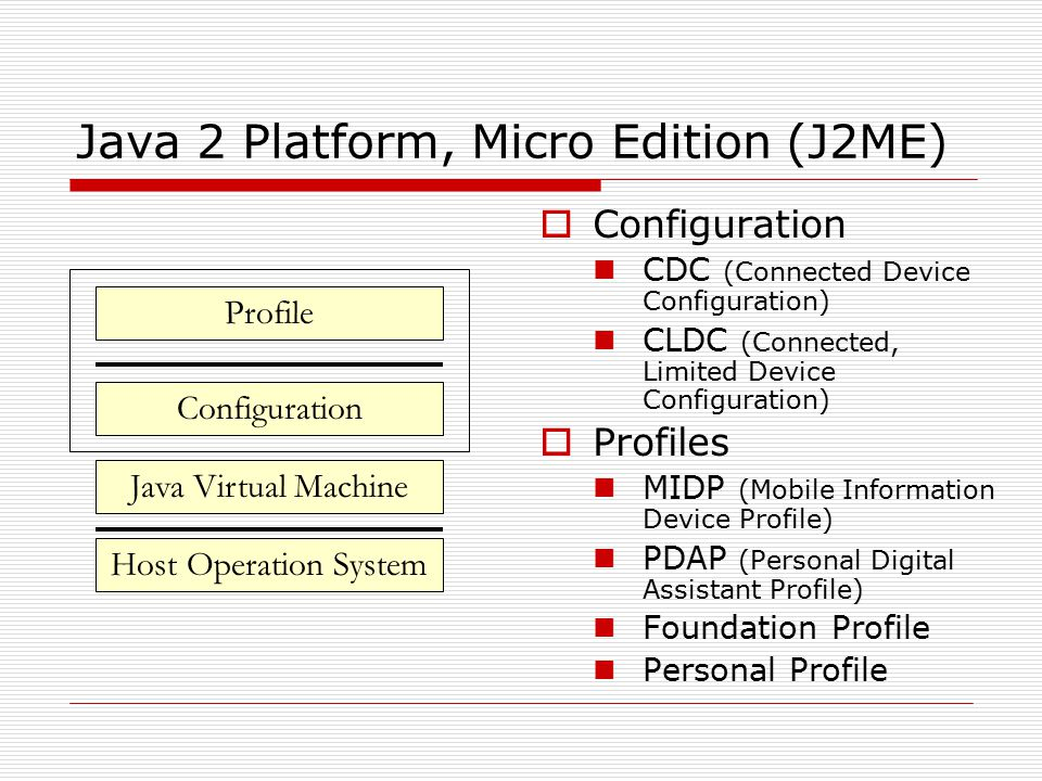 Java 2 Platform, Micro Edition (J2ME)  Configuration CDC (Connected Device Configuration) CLDC (Connected, Limited Device Configuration)  Profiles MIDP (Mobile Information Device Profile) PDAP (Personal Digital Assistant Profile) Foundation Profile Personal Profile Configuration Java Virtual Machine Host Operation System Profile