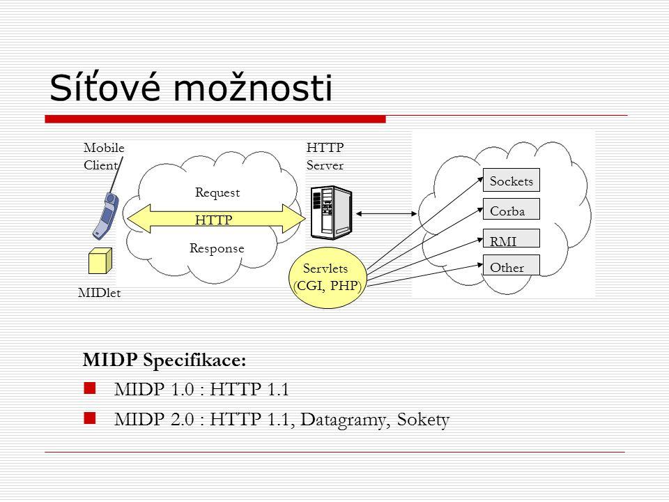Síťové možnosti MIDP Specifikace: MIDP 1.0 : HTTP 1.1 MIDP 2.0 : HTTP 1.1, Datagramy, Sokety Mobile Client HTTP Request Response MIDlet HTTP Server Servlets (CGI, PHP) Sockets Corba RMI Other