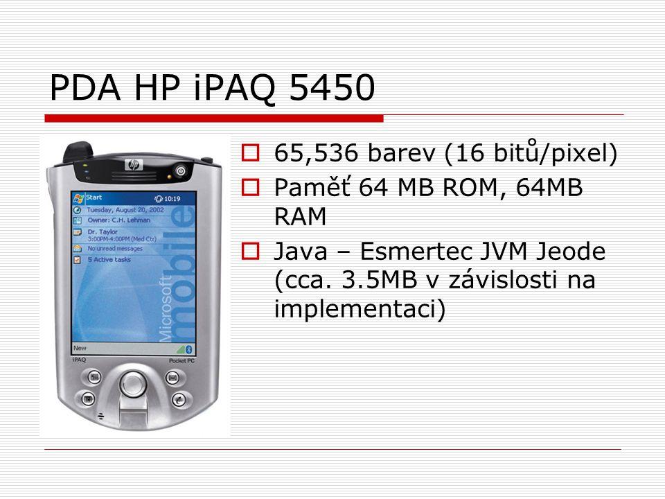 PDA HP iPAQ 5450  65,536 barev (16 bitů/pixel)  Paměť 64 MB ROM, 64MB RAM  Java – Esmertec JVM Jeode (cca.