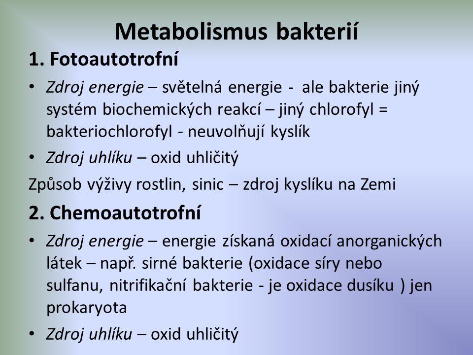 Metabolismus bakterií 1. Fotoautotrofní Zdroj energie – světelná energie - ale bakterie jiný systém biochemických reakcí – jiný chlorofyl = bakterioch