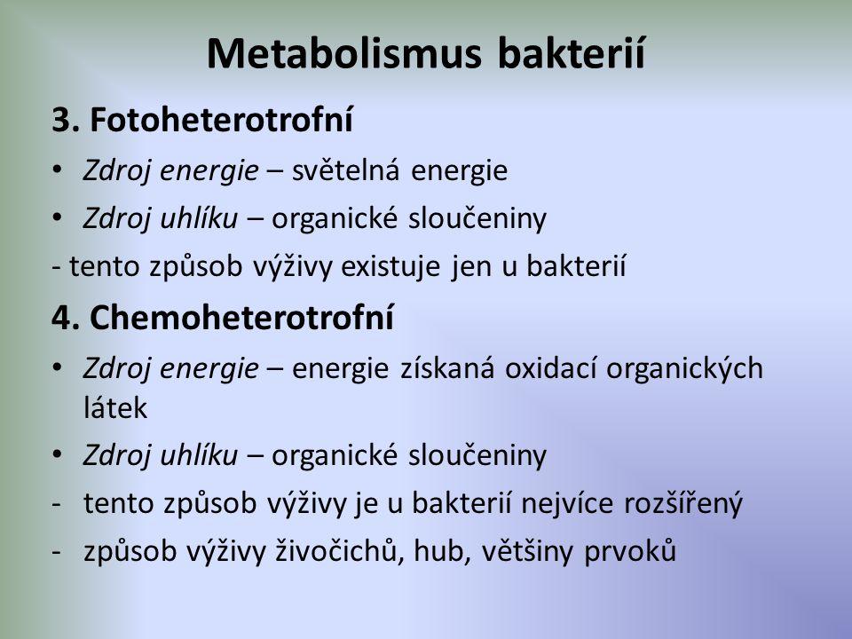 Metabolismus bakterií 3. Fotoheterotrofní Zdroj energie – světelná energie Zdroj uhlíku – organické sloučeniny - tento způsob výživy existuje jen u ba
