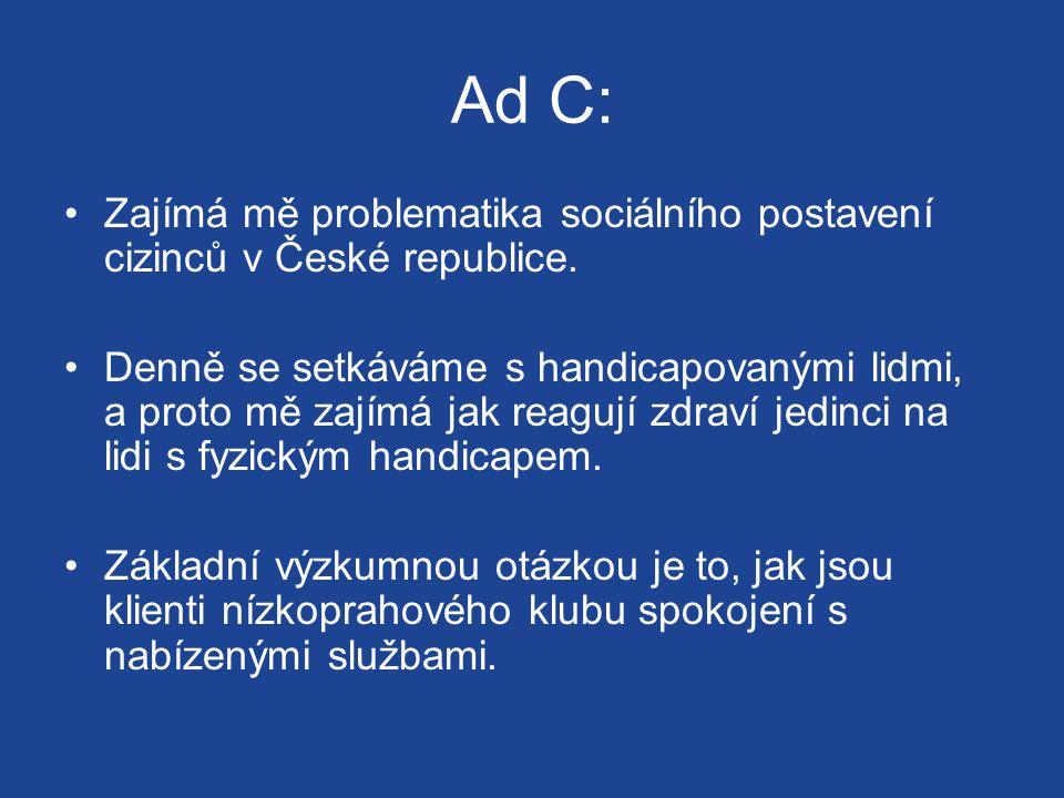 Ad C: Zajímá mě problematika sociálního postavení cizinců v České republice.
