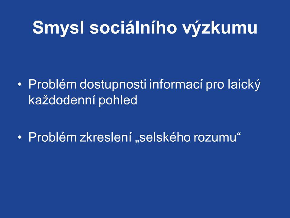 """Smysl sociálního výzkumu Problém dostupnosti informací pro laický každodenní pohled Problém zkreslení """"selského rozumu"""
