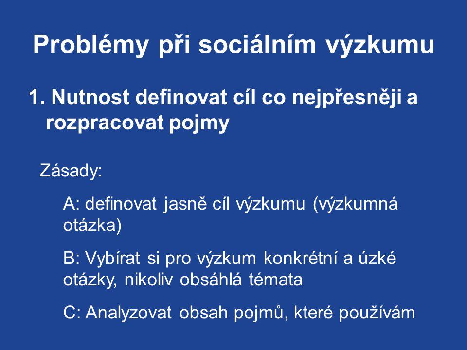 Problémy při sociálním výzkumu 1.