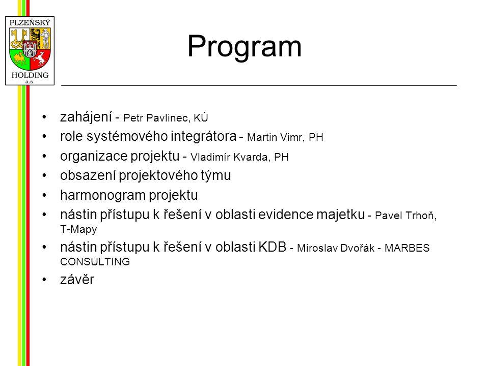 Program zahájení - Petr Pavlinec, KÚ role systémového integrátora - Martin Vimr, PH organizace projektu - Vladimír Kvarda, PH obsazení projektového týmu harmonogram projektu nástin přístupu k řešení v oblasti evidence majetku - Pavel Trhoň, T-Mapy nástin přístupu k řešení v oblasti KDB - Miroslav Dvořák - MARBES CONSULTING závěr