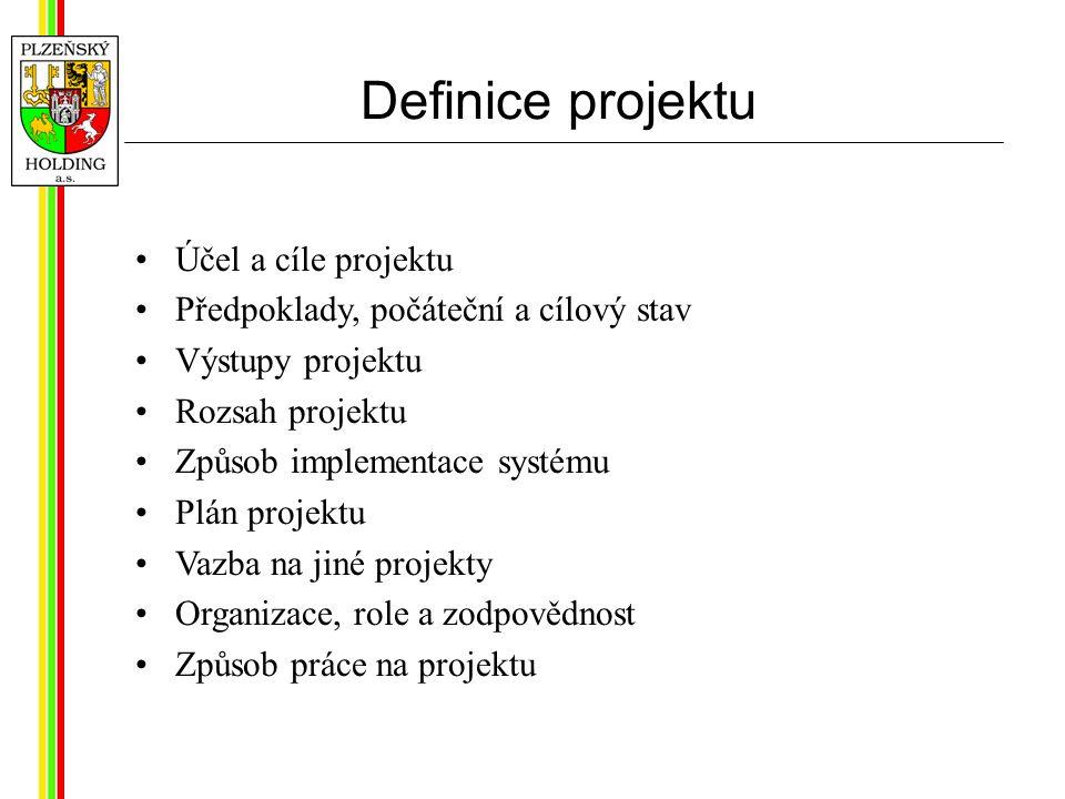 Definice projektu Účel a cíle projektu Předpoklady, počáteční a cílový stav Výstupy projektu Rozsah projektu Způsob implementace systému Plán projektu Vazba na jiné projekty Organizace, role a zodpovědnost Způsob práce na projektu