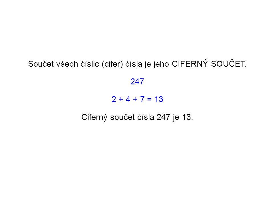 Součet všech číslic (cifer) čísla je jeho CIFERNÝ SOUČET.