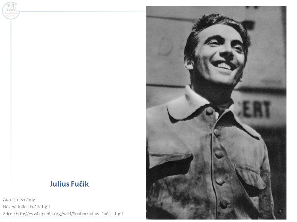 Julius Fučík Autor: neznámý Název: Julius Fučík 1.gif Zdroj: http://cs.wikipedia.org/wiki/Soubor:Julius_Fučík_1.gif