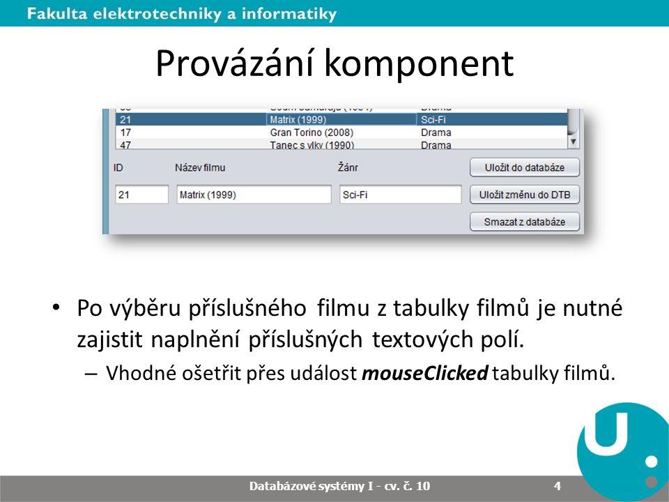 Provázání komponent Po výběru příslušného filmu z tabulky filmů je nutné zajistit naplnění příslušných textových polí.