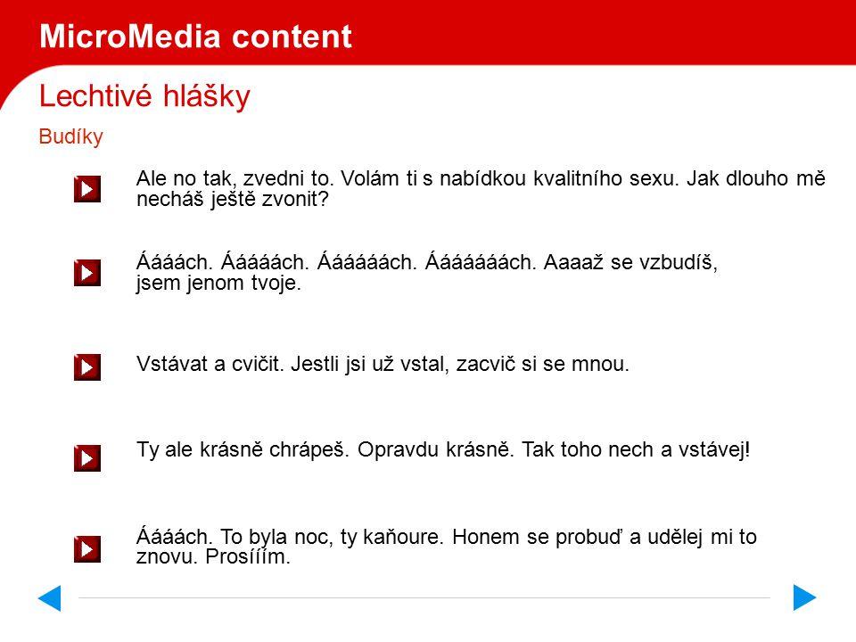 Lechtivé hlášky MicroMedia s.r.o uvádí
