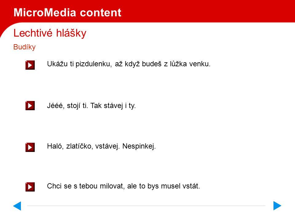 Lechtivé hlášky MicroMedia content Spíš.Tulíš se.