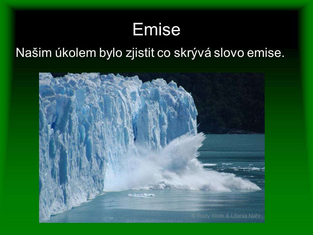Emise Našim úkolem bylo zjistit co skrývá slovo emise.