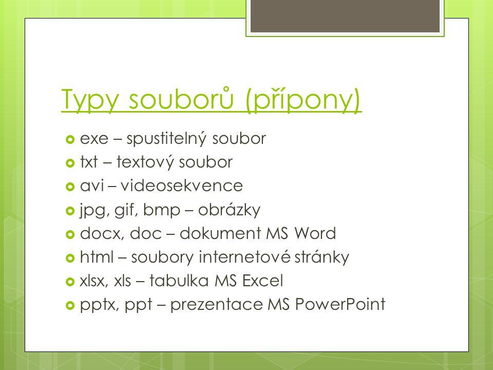 Typy souborů (přípony)  exe – spustitelný soubor  txt – textový soubor  avi – videosekvence  jpg, gif, bmp – obrázky  docx, doc – dokument MS Word  html – soubory internetové stránky  xlsx, xls – tabulka MS Excel  pptx, ppt – prezentace MS PowerPoint