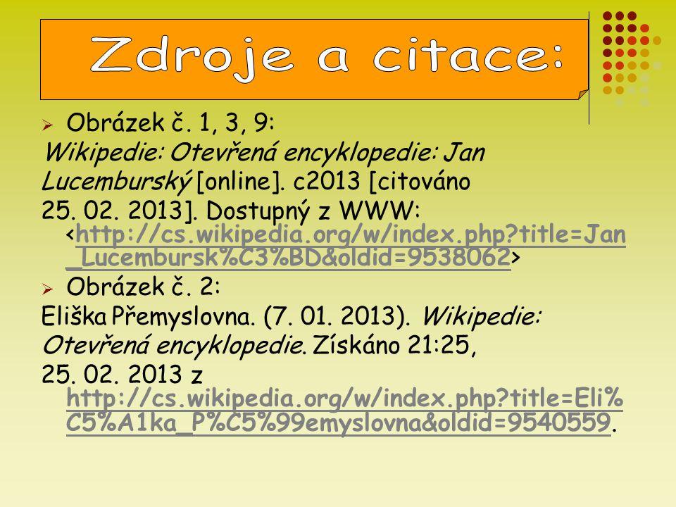  Obrázek č. 1, 3, 9: Wikipedie: Otevřená encyklopedie: Jan Lucemburský [online]. c2013 [citováno 25. 02. 2013]. Dostupný z WWW: http://cs.wikipedia.o