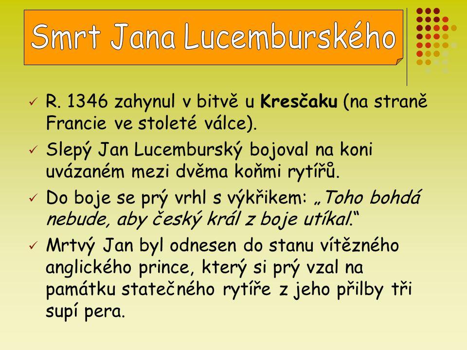 R. 1346 zahynul v bitvě u Kresčaku (na straně Francie ve stoleté válce). Slepý Jan Lucemburský bojoval na koni uvázaném mezi dvěma koňmi rytířů. Do bo