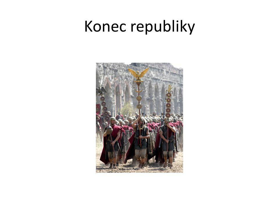 Gaius Julius Caesar  schopný politik, řečník, diplomat, vojevůdce správce provincie Galie (Francie) – boje s místními obyvateli – Keltové (Galové) rozšířil říši k řece Rýn Řím – Pompeius získává moc – občanská válka s Caesarem – Pompeius poražen (zavražděn v Egyptě) Caesar – diktátor, neomezený vládce