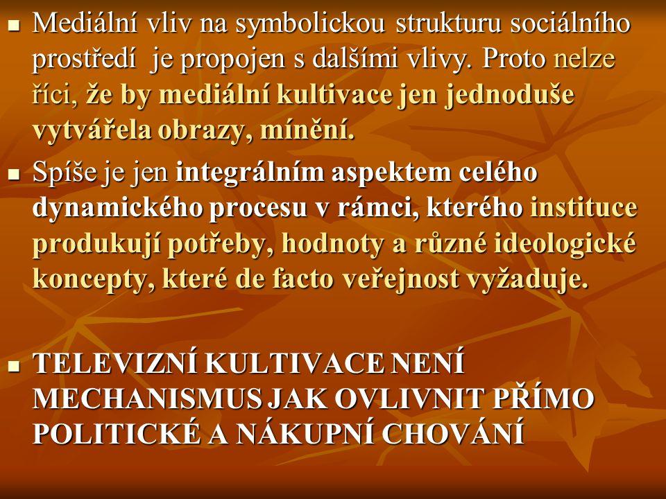 Mediální vliv na symbolickou strukturu sociálního prostředí je propojen s dalšími vlivy.