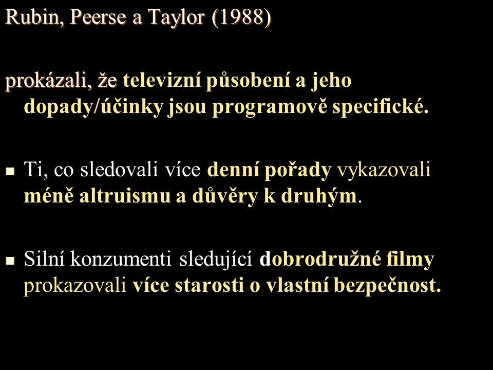 Rubin, Peerse a Taylor (1988) prokázali, že prokázali, že televizní působení a jeho dopady/účinky jsou programově specifické.