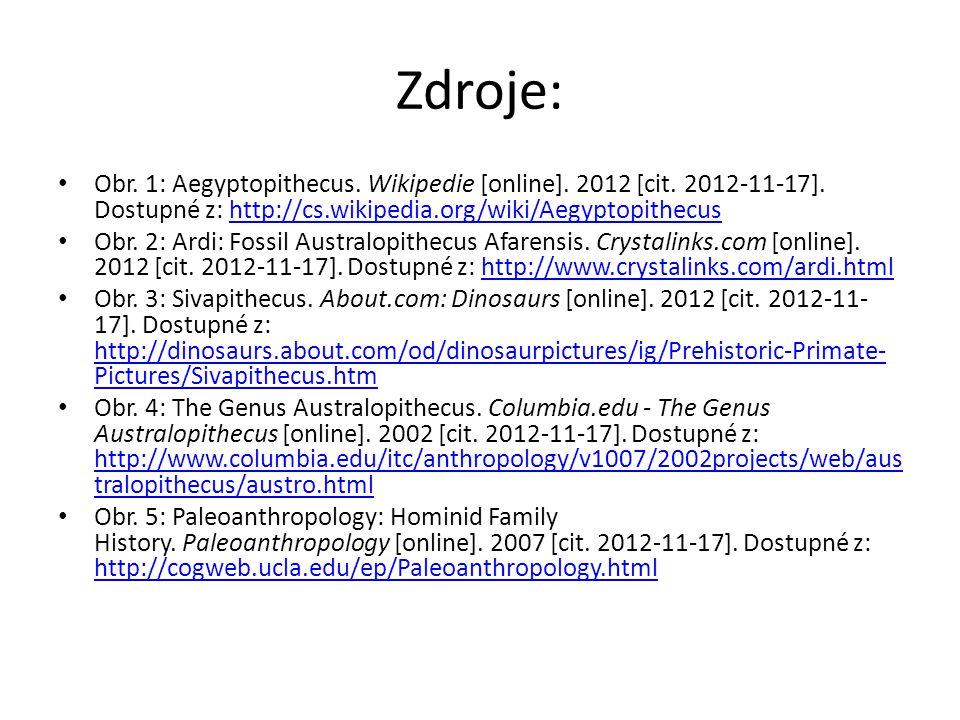 Zdroje: Obr. 1: Aegyptopithecus. Wikipedie [online].