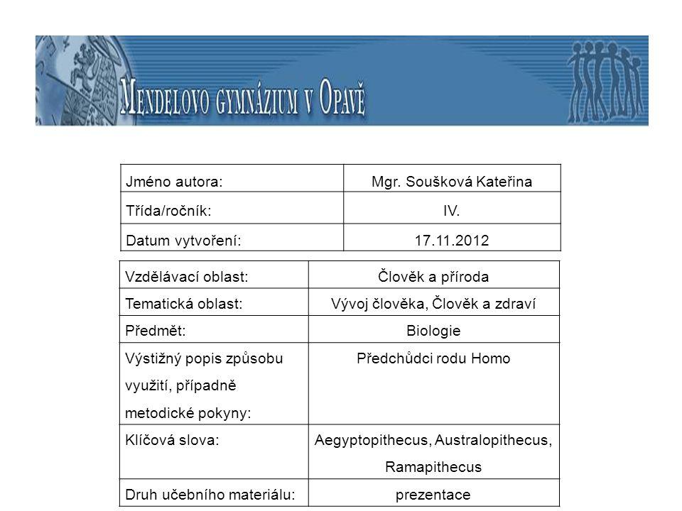 téma: Předchůdci rodu Homo