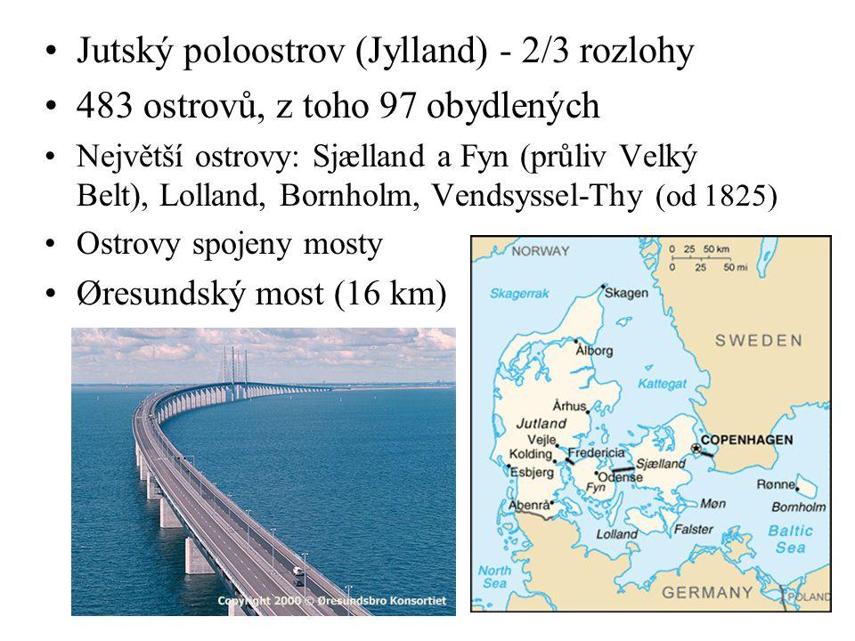 Jutský poloostrov (Jylland) - 2/3 rozlohy 483 ostrovů, z toho 97 obydlených Největší ostrovy: Sjælland a Fyn (průliv Velký Belt), Lolland, Bornholm, V