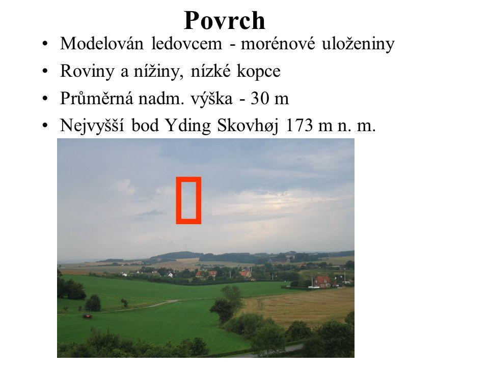 Modelován ledovcem - morénové uloženiny Roviny a nížiny, nízké kopce Průměrná nadm. výška - 30 m Nejvyšší bod Yding Skovhøj 173 m n. m. Povrch ↓