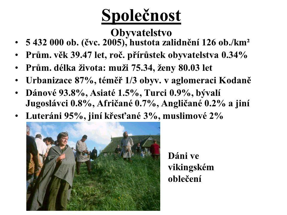Společnost 5 432 000 ob. (čvc. 2005), hustota zalidnění 126 ob./km² Prům. věk 39.47 let, roč. přírůstek obyvatelstva 0.34% Prům. délka života: muži 75