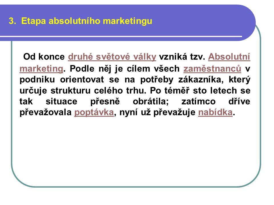 3. Etapa absolutního marketingu Od konce druhé světové války vzniká tzv.