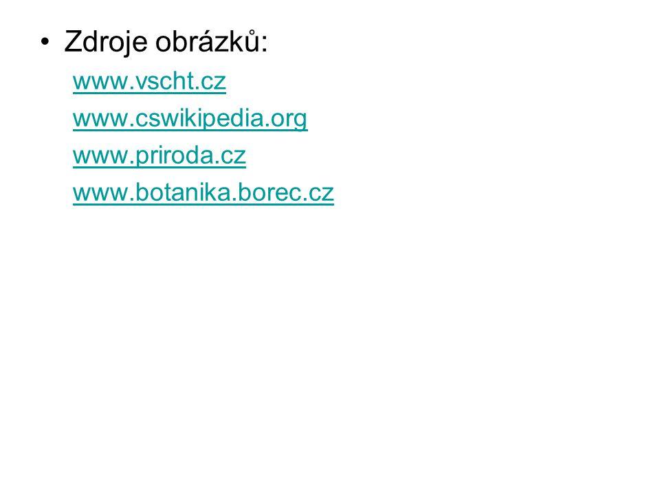 Zdroje obrázků: www.vscht.cz www.cswikipedia.org www.priroda.cz www.botanika.borec.cz