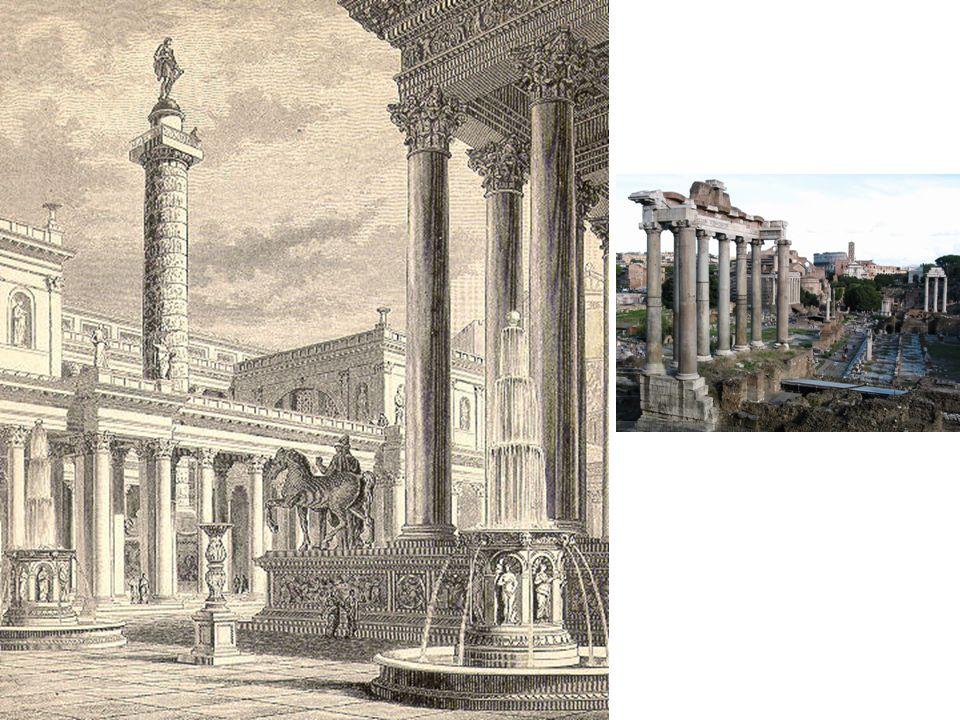 Druhy staveb / Církevní stavby Římský chrám podélný (pódiový typ) vychází z etruských a řeckých vzorů vysoká podezdívka, schodiště z průčelí, nástup zdůrazněn sloupovým portikem vnější sloupořadí, které většinou vytvářelo ochoz (peristylos), boční stěny většinou s polosloupy uzavřený vnitřní prostor, tvořený předsíní (pronáos), vlastní celou (náos), která je někdy zaklenutá, někdy i zadní síní (epináos), mohou být i dvě cely nebo čtvercový prostor se dvěmi nebo třemi celami Římský chrám centrální většinou kruhová cela a sloupový ochoz, někdy sloupový portikus půdorys kruhový nebo osmiúhelný Pohřební architektura Pohřbívalo se podél cest.