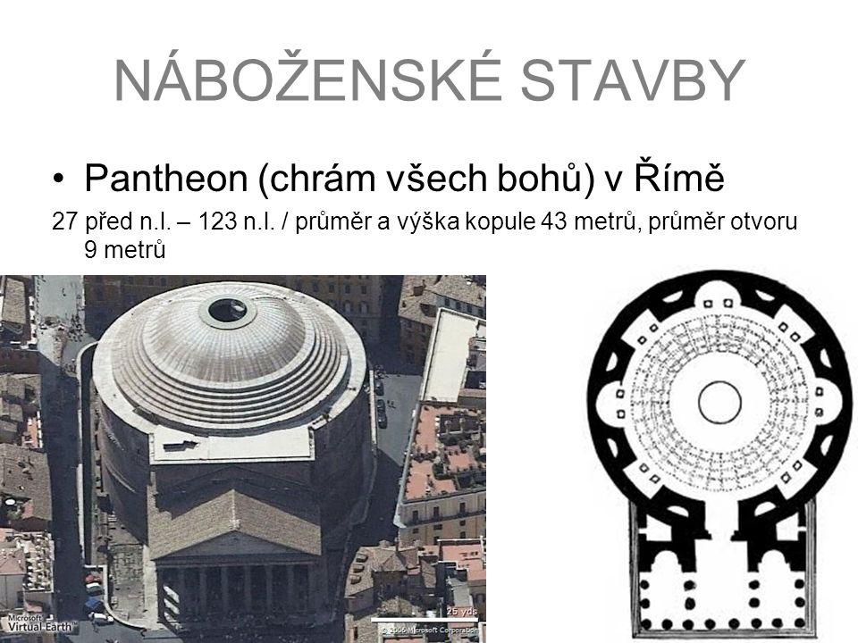Pantheon (chrám všech bohů) v Římě 27 před n.l. – 123 n.l. / průměr a výška kopule 43 metrů, průměr otvoru 9 metrů