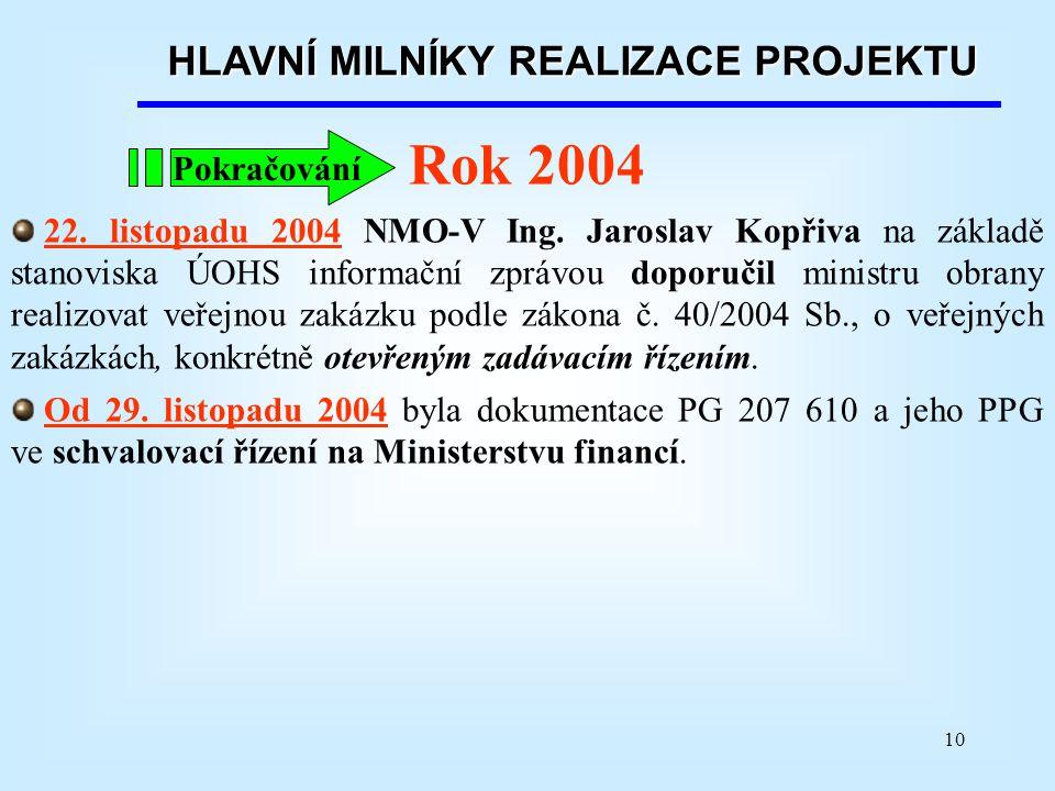 10 Rok 2004 22. listopadu 2004 NMO-V Ing. Jaroslav Kopřiva na základě stanoviska ÚOHS informační zprávou doporučil ministru obrany realizovat veřejnou