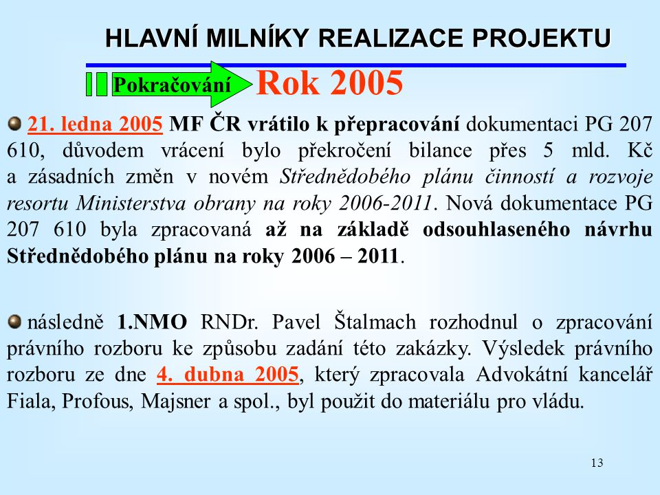 13 HLAVNÍ MILNÍKY REALIZACE PROJEKTU Rok 2005 21. ledna 2005 MF ČR vrátilo k přepracování dokumentaci PG 207 610, důvodem vrácení bylo překročení bila