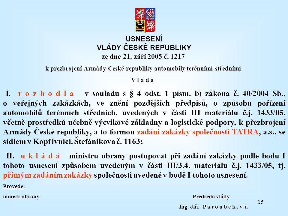 15 USNESENÍ VLÁDY ČESKÉ REPUBLIKY ze dne 21. září 2005 č. 1217 k přezbrojení Armády České republiky automobily terénními středními V l á d a I. r o z